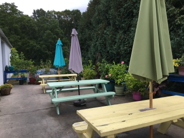 Charming seating at the Dairy Haus, Saratoga Springs | In Search of a Scoop